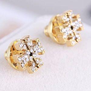 Tory Burch sparkly logo stud earrings